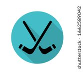 hockey sticks long shadow icon. ...