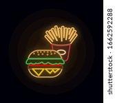 food  hamburger neon icon....