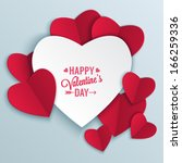Valentine's day abstract background with cut paper heart. Vector illustration | Shutterstock vector #166259336