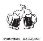 two toasting beer mugs  cheers. ... | Shutterstock .eps vector #1662600058