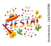 fiesta exclamation surrounded... | Shutterstock .eps vector #1662643588