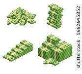 huge packs of paper money.... | Shutterstock .eps vector #1662645352