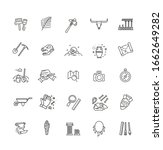 Outline Black Icons Set In Thin ...