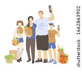 happy family of man  woman and... | Shutterstock .eps vector #1662863902