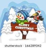 the nice amusing snowman...   Shutterstock .eps vector #166289342