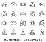 line gamepad icon set isolated...