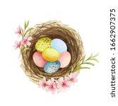 happy easter watercolor hand... | Shutterstock . vector #1662907375