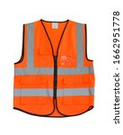 Small photo of afety Vest Reflective shirt beware, guard, mind, traffic shirt, safety shirt, rescue, police, security shirt protective jacket isolated on white background. This has clipping path.