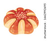 sweet round pastry with golden... | Shutterstock .eps vector #1662992695