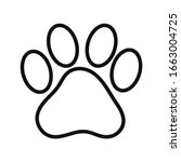 paw icon vector. paw print icon ... | Shutterstock .eps vector #1663004725