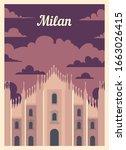 Retro Poster Milan City Skyline....