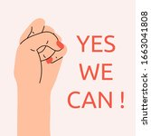 yes  women can. woman's hand... | Shutterstock .eps vector #1663041808
