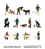 owner woman keeps dog on the...   Shutterstock .eps vector #1663052272