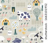 childish seamless farm pattern .... | Shutterstock .eps vector #1663101952
