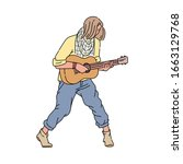 young guitarist man standing...   Shutterstock .eps vector #1663129768
