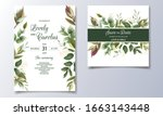 Set Of Cards With Floral...