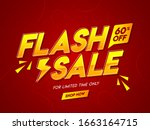 flash sale text with 60 ... | Shutterstock .eps vector #1663164715