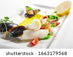 blanched seafood  cut tomatoes...   Shutterstock . vector #1663179568