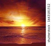 fantastic sunset over ocean ... | Shutterstock . vector #1663181512