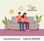 man and woman sitting on the... | Shutterstock .eps vector #1663198285