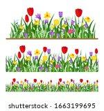 vector set of spring wild... | Shutterstock .eps vector #1663199695