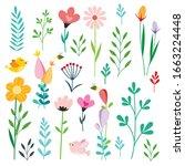 set of retro style flowers ... | Shutterstock .eps vector #1663224448