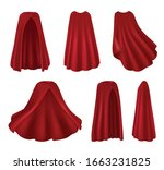 red mantle realistic images set ... | Shutterstock .eps vector #1663231825