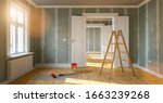 Small photo of Room in renovation in elegant apartment for relocation with paint bucket and Flattened drywall walls