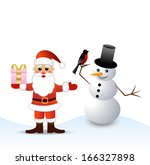 santa claus and snow man  ... | Shutterstock .eps vector #166327898