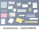 set of torn horizontal white... | Shutterstock .eps vector #1663348828