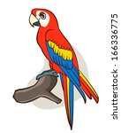 cute cartoon parrot on isolated ... | Shutterstock . vector #166336775