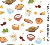 chinese food  asian street and...   Shutterstock .eps vector #1663377052