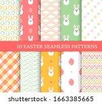 ten different easter seamless... | Shutterstock .eps vector #1663385665