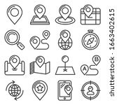 map and location icons set on... | Shutterstock .eps vector #1663402615