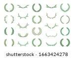 set of green silhouette laurel... | Shutterstock .eps vector #1663424278