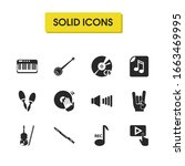 music icons set with banjo ...