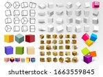 mega set of white 3d cubes pack ... | Shutterstock .eps vector #1663559845