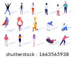 set of isometric characters... | Shutterstock .eps vector #1663565938