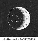 white moon on black starry...   Shutterstock .eps vector #1663591885