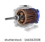 electric motor. 3d image.... | Shutterstock . vector #166362038
