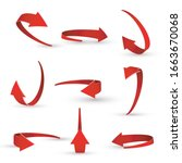 3d Realistic Red Arrow Twisted...