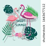 set of hand drawn tropical... | Shutterstock .eps vector #1663677112