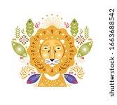 lion head stylized illustration.... | Shutterstock .eps vector #1663688542
