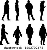 silhouette group of people... | Shutterstock .eps vector #1663702678