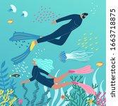 scuba diving club vector... | Shutterstock .eps vector #1663718875