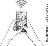 vector illustration of wireless ... | Shutterstock .eps vector #1663719898