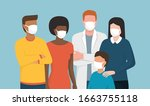 group of people wearing... | Shutterstock .eps vector #1663755118