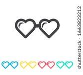 heart glasses multi color icon...