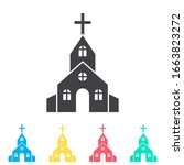 church multi color icon set....