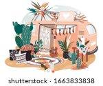 hippie van in boho style  retro ...   Shutterstock .eps vector #1663833838